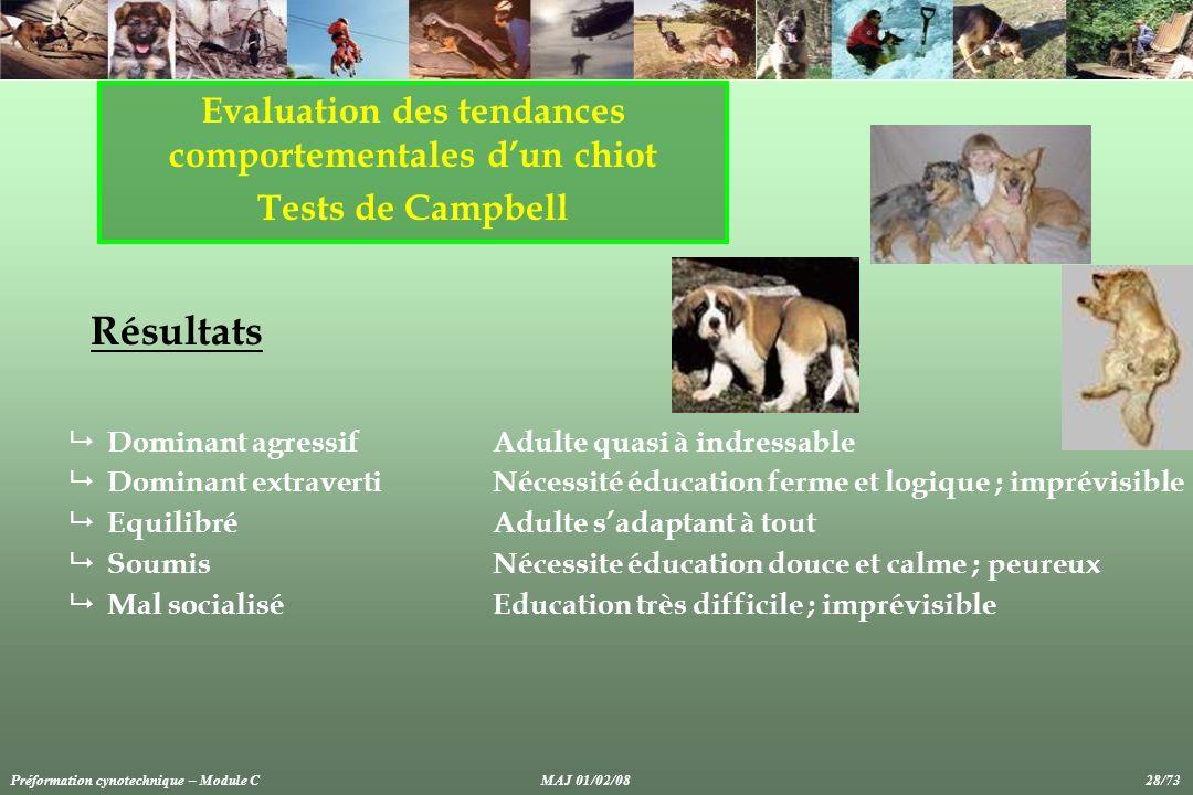 Evaluation des tendances comportementales dun chiot Tests de Campbell Résultats Dominant agressifAdulte quasi à indressable Dominant extravertiNécessi