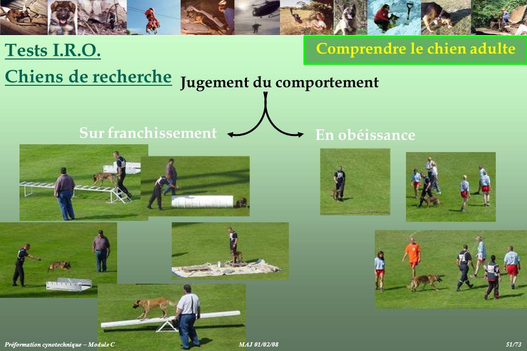 Comprendre le chien adulte Tests I.R.O. Chiens de recherche Jugement du comportement Sur franchissement En obéissance Préformation cynotechnique – Mod