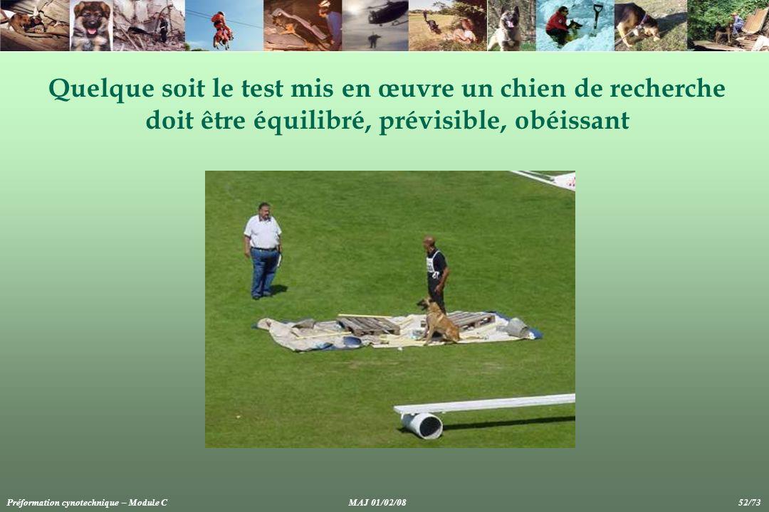 Quelque soit le test mis en œuvre un chien de recherche doit être équilibré, prévisible, obéissant Préformation cynotechnique – Module CMAJ 01/02/08 5