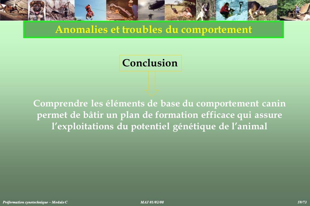 Anomalies et troubles du comportement Conclusion Comprendre les éléments de base du comportement canin permet de bâtir un plan de formation efficace q