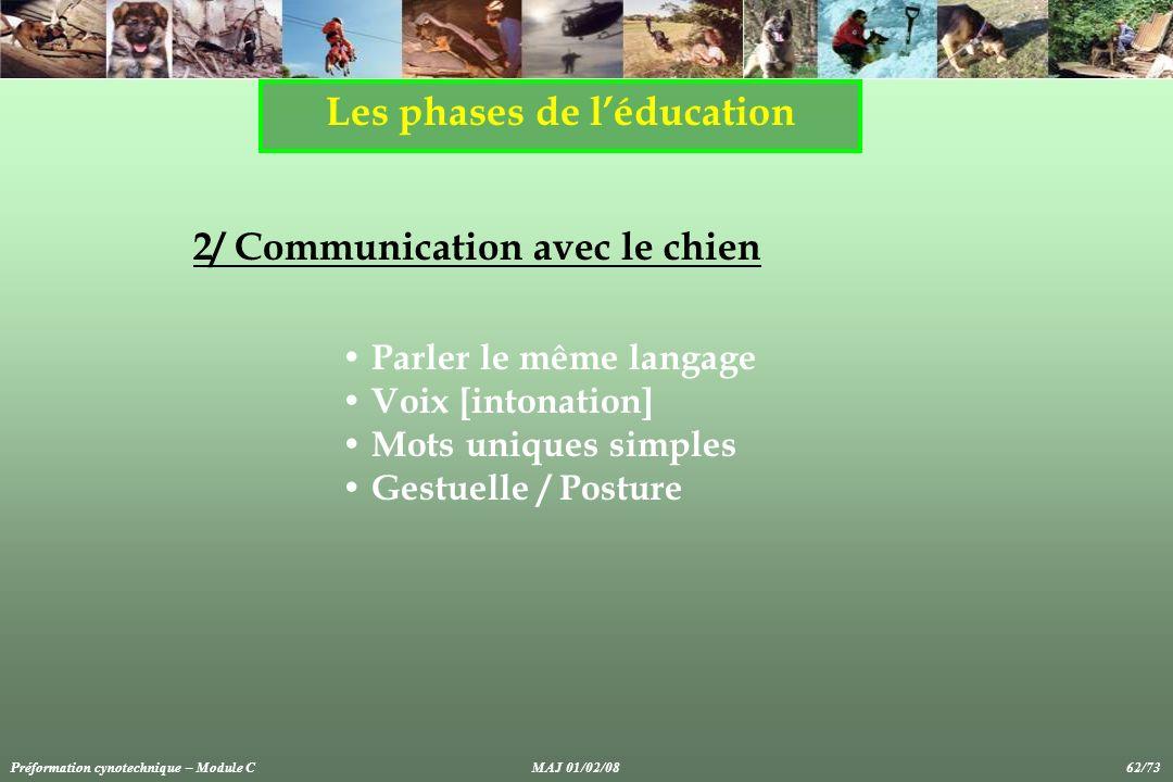 Les phases de léducation 2/ Communication avec le chien Parler le même langage Voix [intonation] Mots uniques simples Gestuelle / Posture Préformation cynotechnique – Module CMAJ 01/02/08 62/73