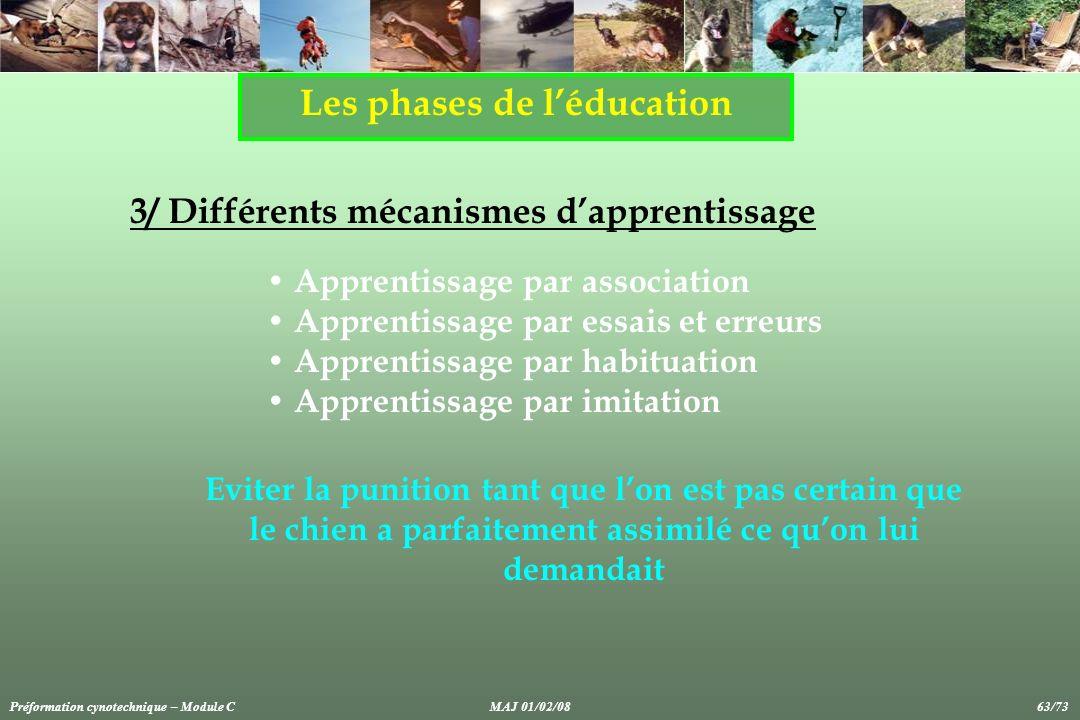 Les phases de léducation 3/ Différents mécanismes dapprentissage Apprentissage par association Apprentissage par essais et erreurs Apprentissage par h