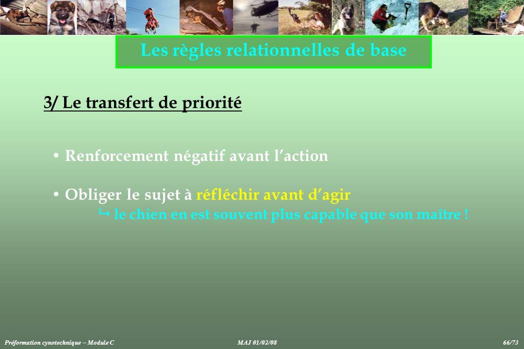 Les règles relationnelles de base 3/ Le transfert de priorité Renforcement négatif avant laction Obliger le sujet à réfléchir avant dagir le chien en