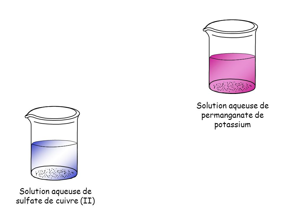 Solution aqueuse de sulfate de cuivre (II) Solution aqueuse de permanganate de potassium