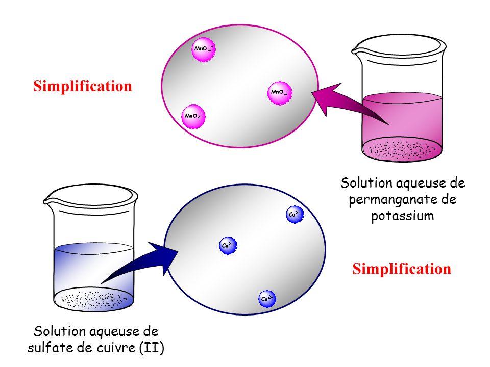 Solution aqueuse de sulfate de cuivre (II) Solution aqueuse de permanganate de potassium Simplification