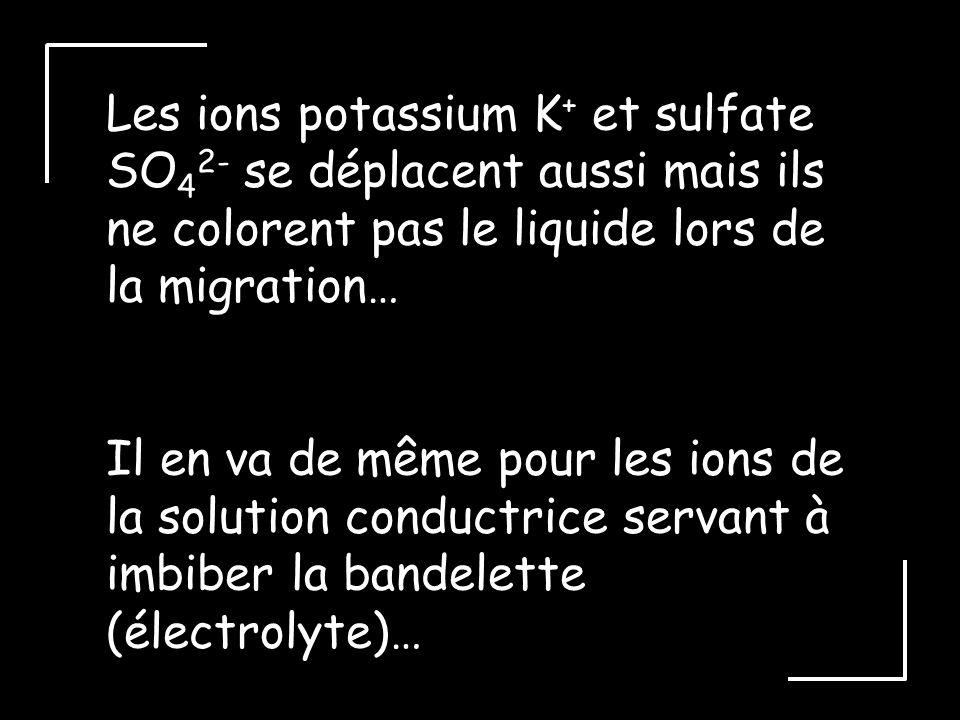 Les ions potassium K + et sulfate SO 4 2- se déplacent aussi mais ils ne colorent pas le liquide lors de la migration… Il en va de même pour les ions