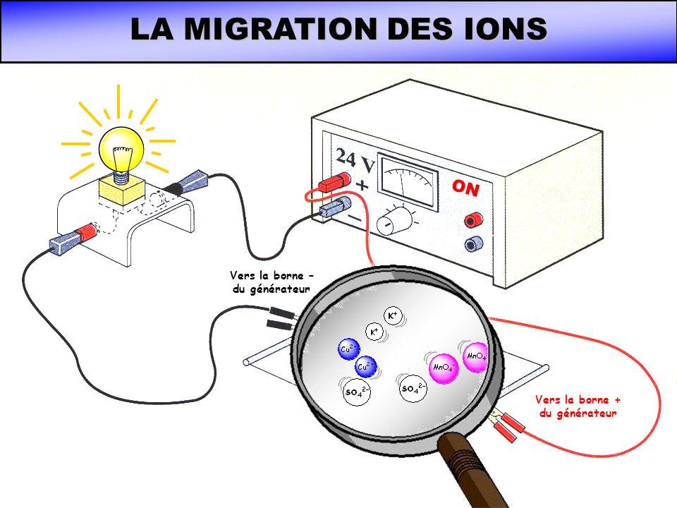 LA MIGRATION DES IONS ON Vers la borne + du générateur Vers la borne – du générateur