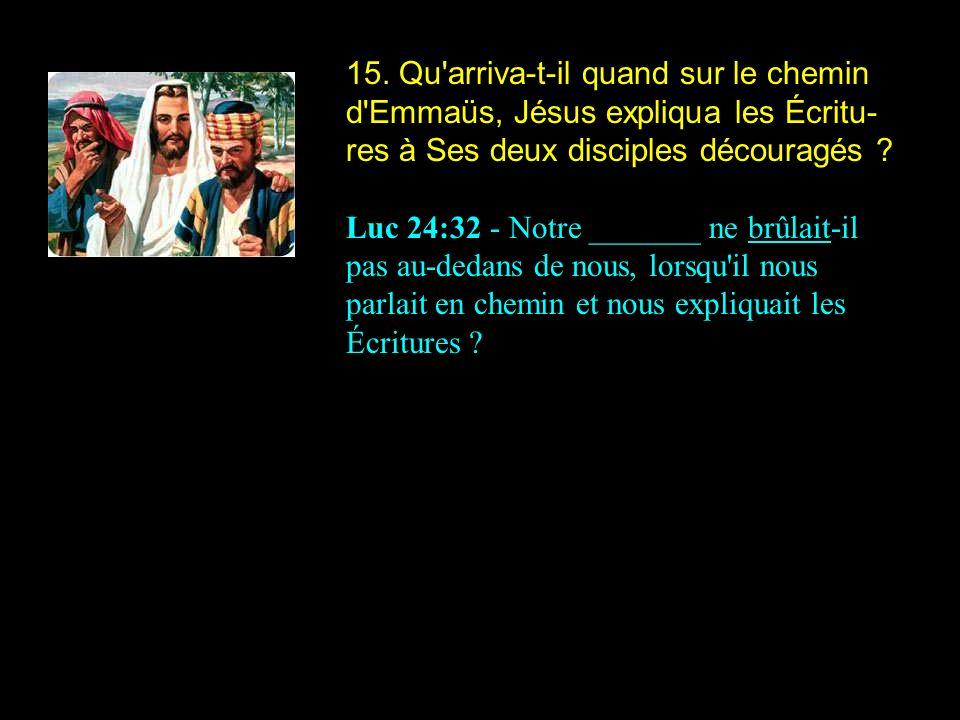 15. Qu'arriva-t-il quand sur le chemin d'Emmaüs, Jésus expliqua les Écritu- res à Ses deux disciples découragés ? Luc 24:32 - Notre _______ ne brûlait