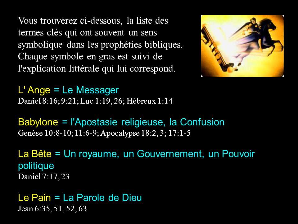 Vous trouverez ci-dessous, la liste des termes clés qui ont souvent un sens symbolique dans les prophéties bibliques.