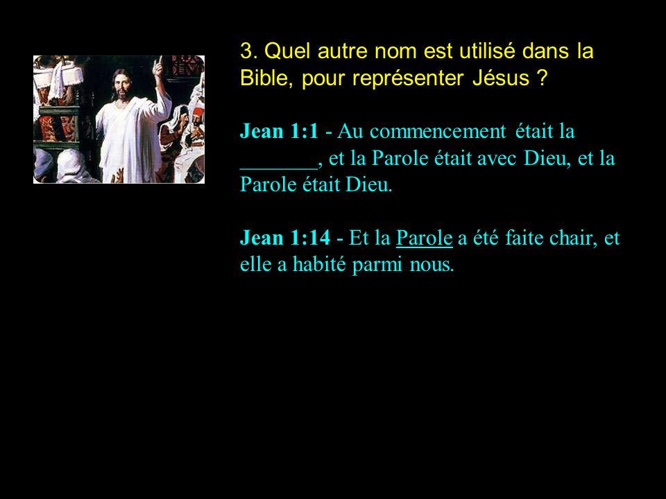 3.Quel autre nom est utilisé dans la Bible, pour représenter Jésus .