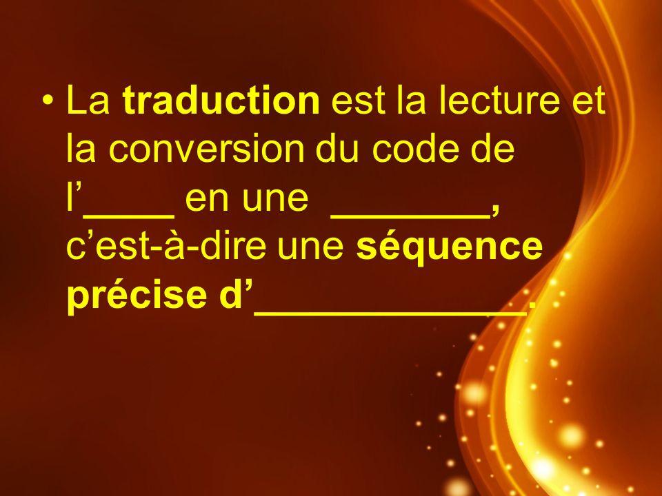 La traduction est la lecture et la conversion du code de l____ en une _______, cest-à-dire une séquence précise d____________.