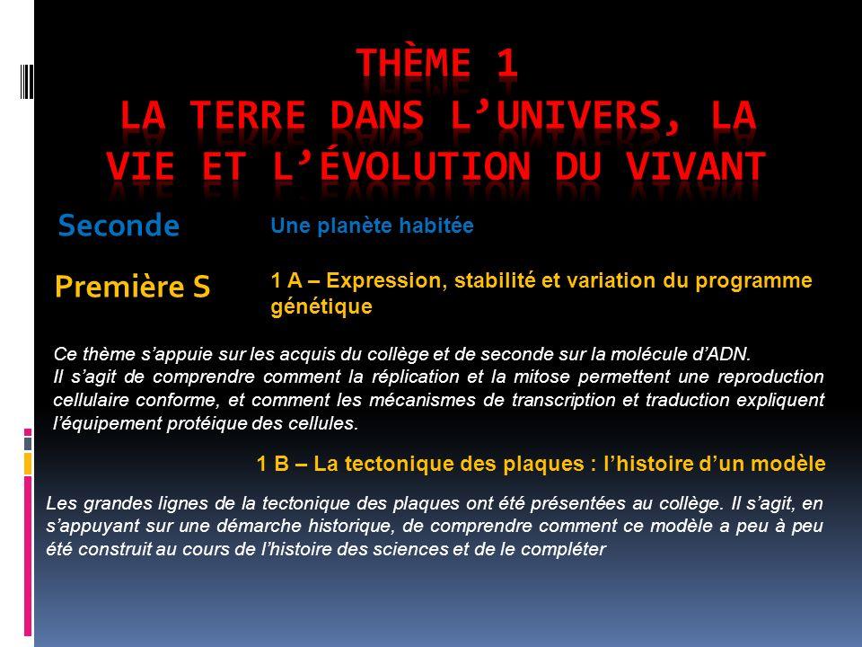 Seconde Première S Une planète habitée 1 A – Expression, stabilité et variation du programme génétique Ce thème sappuie sur les acquis du collège et de seconde sur la molécule dADN.