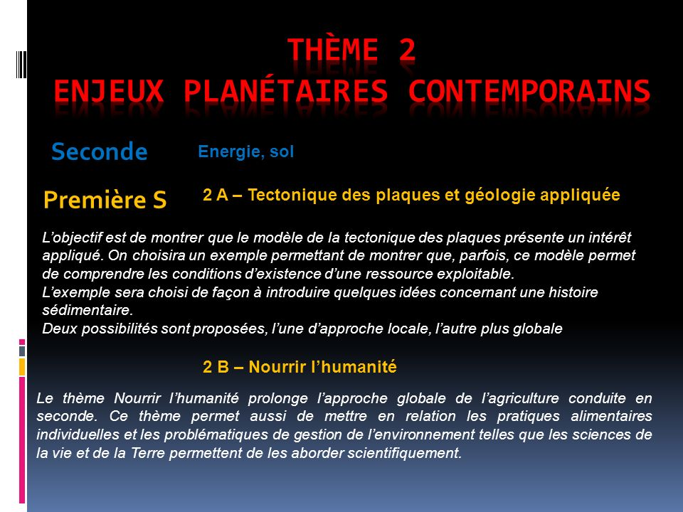 Seconde Première S Energie, sol 2 A – Tectonique des plaques et géologie appliquée Lobjectif est de montrer que le modèle de la tectonique des plaques