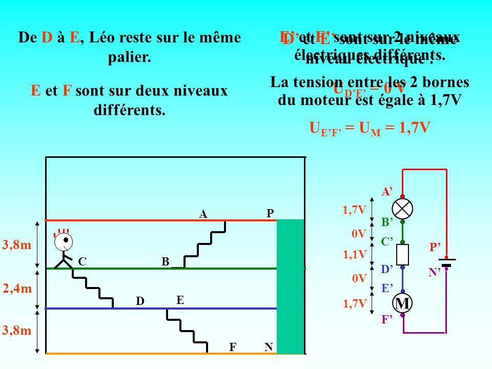 A CB E FN P D 3,8m 2,4m 3,8m 1,7V 0V 1,1V 0V 1,7V De D à E, Léo reste sur le même palier. D et E sont sur le même niveau électrique : U DE = 0 V E et