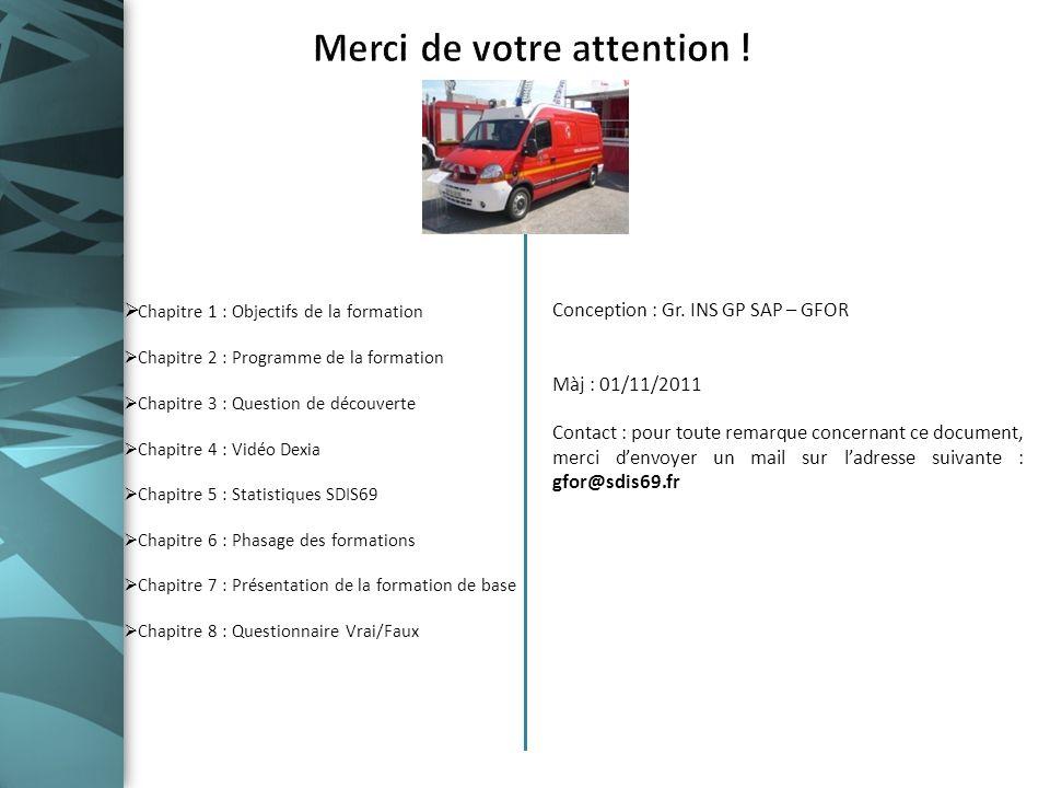 Conception : Gr. INS GP SAP – GFOR Màj : 01/11/2011 Contact : pour toute remarque concernant ce document, merci denvoyer un mail sur ladresse suivante