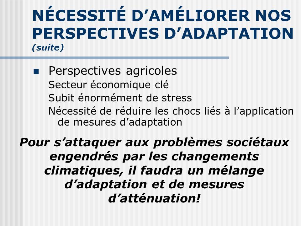 ADAPTATION DU SECTEUR AGRICOLE AUX CHANGEMENTS CLIMATIQUES Trois façons dévaluer ladaptation Se fier aux leçons du passé Modéliser la faisabilité et lefficacité techniques Intégrer les changements climatiques au contexte général de lagriculture