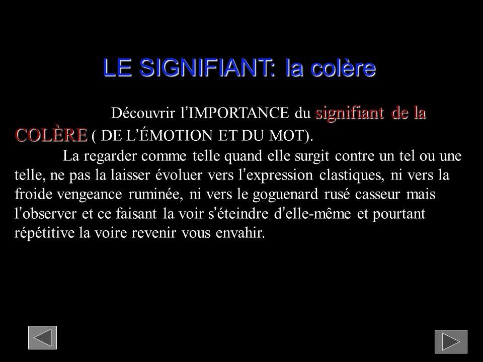 LE SIGNIFIANT: la colère signifiant de la COLÈRE Découvrir lIMPORTANCE du signifiant de la COLÈRE ( DE LÉMOTION ET DU MOT).
