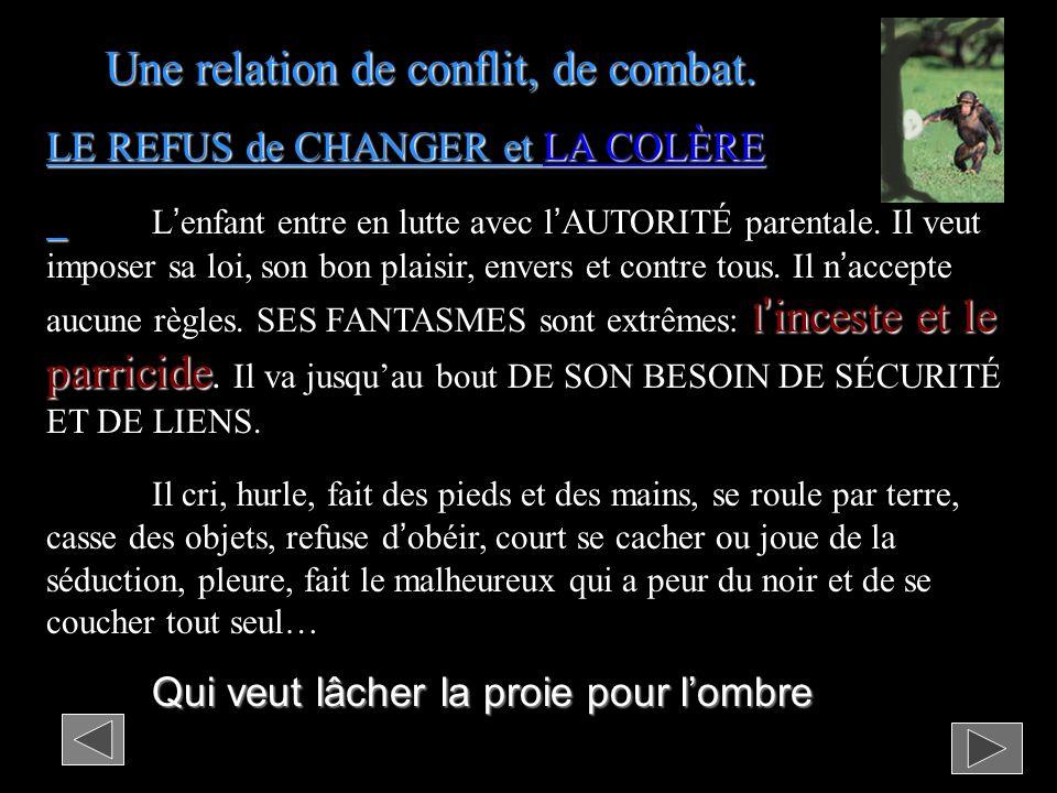 LE REFUS de CHANGER et LA COLÈRE linceste et le parricide Lenfant entre en lutte avec lAUTORITÉ parentale.