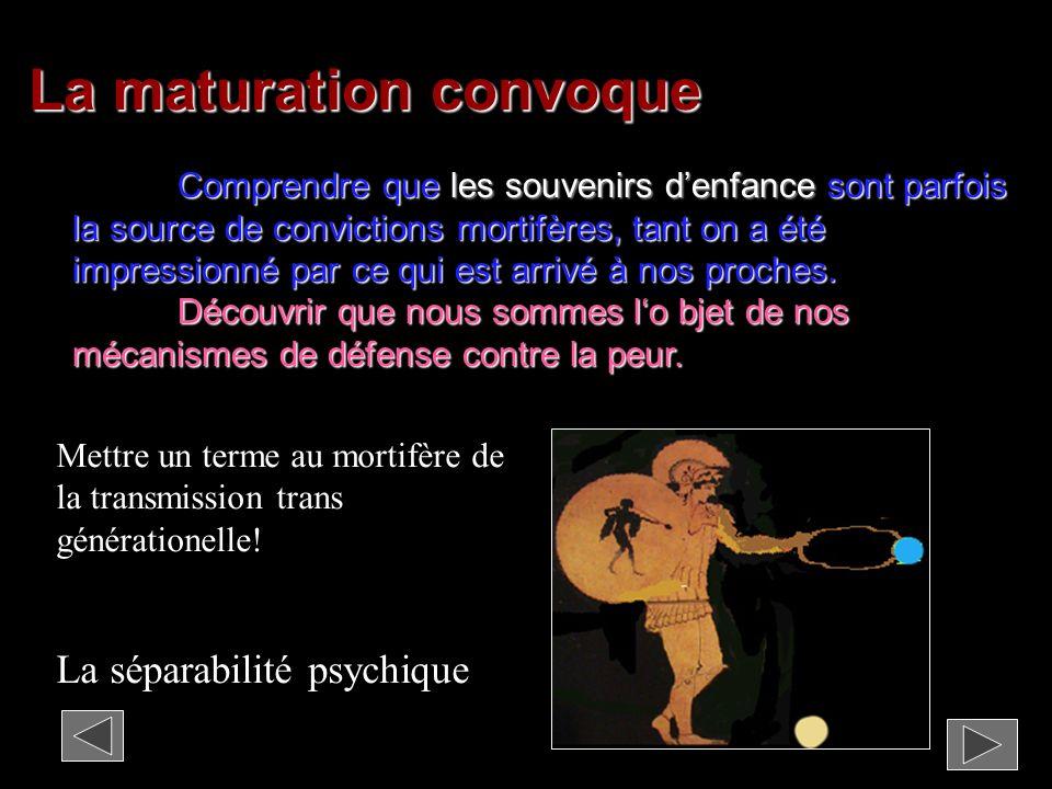 La maturation du garçon Mettre un terme aux attachements mortifères de la transmission transgénérationelle, à la soumission à lautorité pose bien des questions à lenfant dans la dépendance.