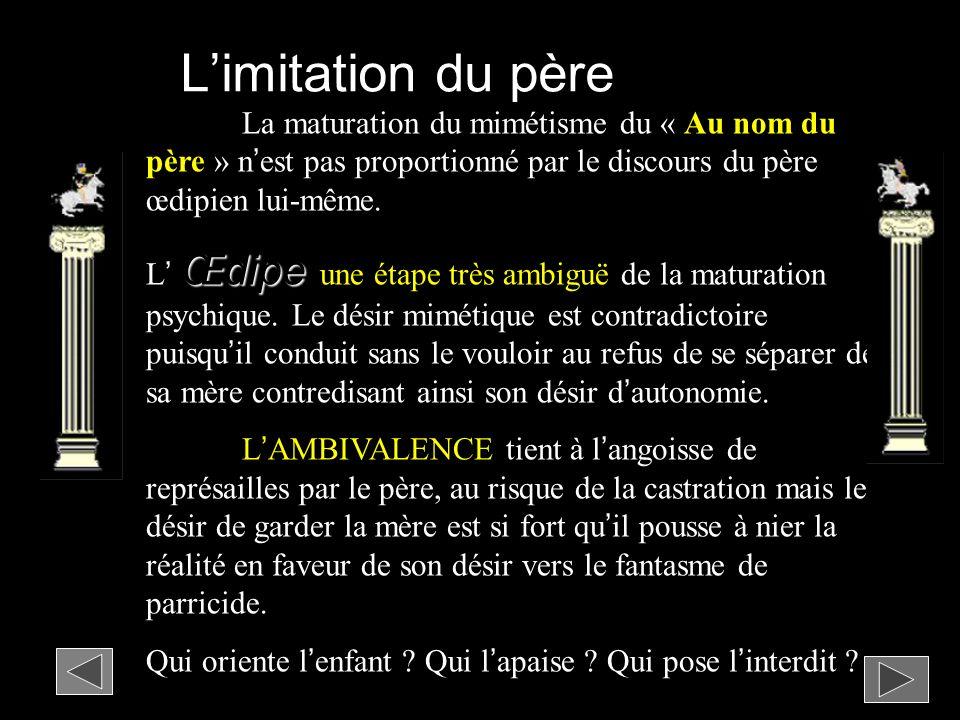 Limitation du père La maturation du mimétisme du « Au nom du père » nest pas proportionné par le discours du père œdipien lui-même.
