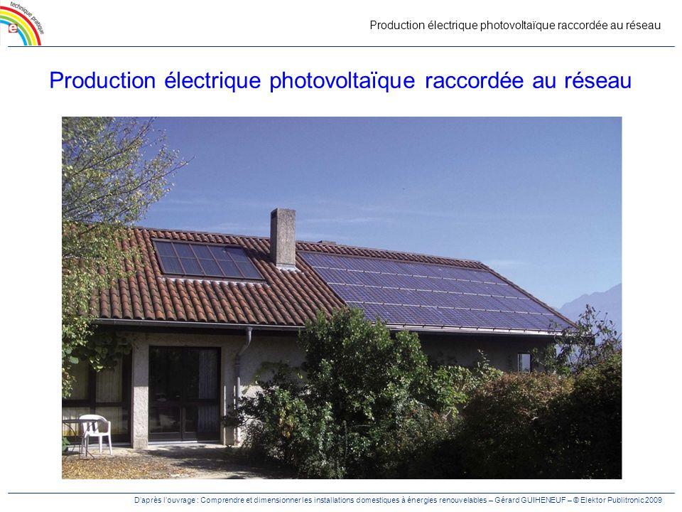 Production électrique photovoltaïque raccordée au réseau Daprès louvrage : Comprendre et dimensionner les installations domestiques à énergies renouvelables – Gérard GUIHENEUF – © Elektor Publitronic 2009