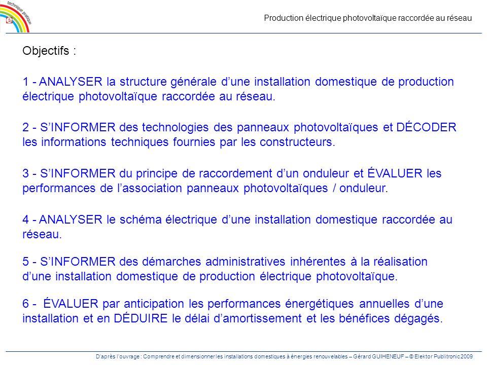 Production électrique photovoltaïque raccordée au réseau Objectifs : 1 - ANALYSER la structure générale dune installation domestique de production éle