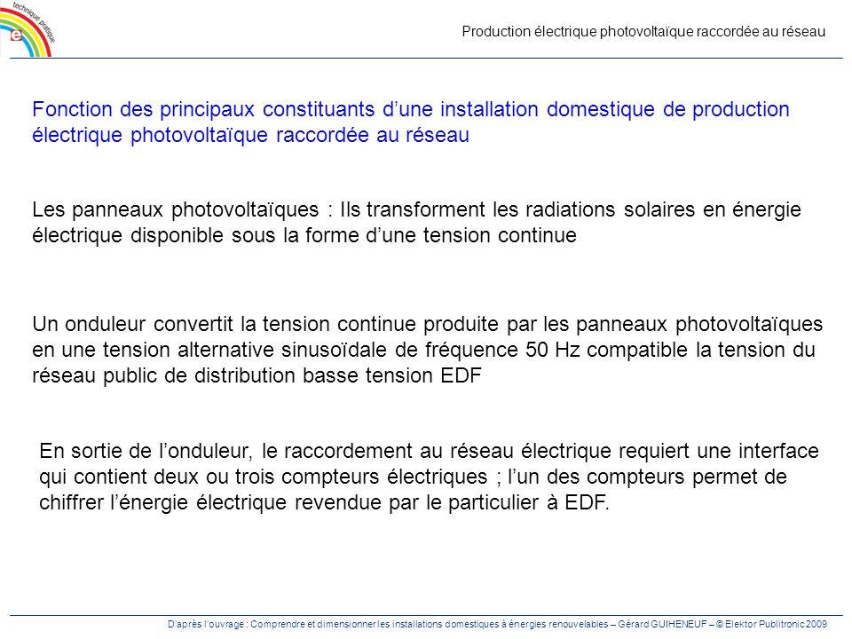 Production électrique photovoltaïque raccordée au réseau Fonction des principaux constituants dune installation domestique de production électrique ph