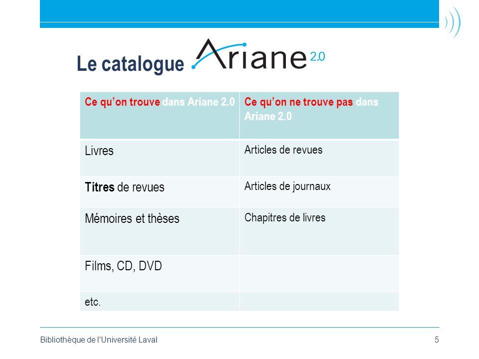 Le catalogue Bibliothèque de l Université Laval5 Ce quon trouve dans Ariane 2.0Ce quon ne trouve pas dans Ariane 2.0 Livres Articles de revues Titres de revues Articles de journaux Mémoires et thèses Chapitres de livres Films, CD, DVD etc.