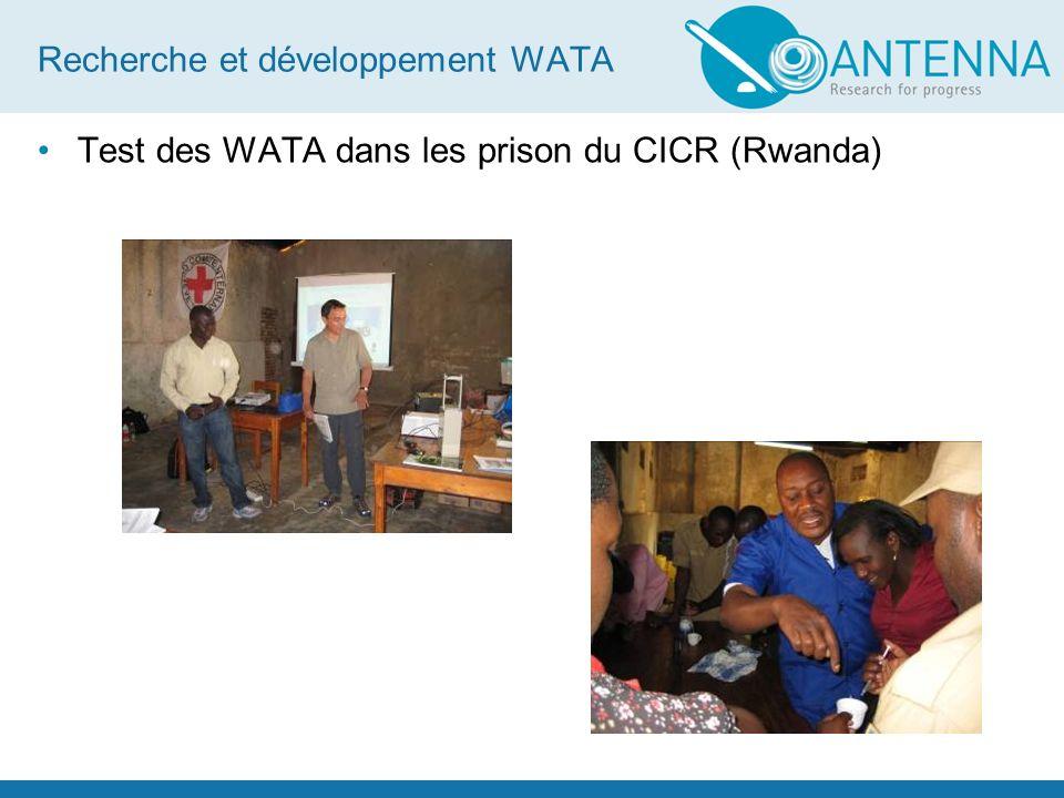 Recherche et développement WATA Test des WATA dans les prison du CICR (Rwanda)