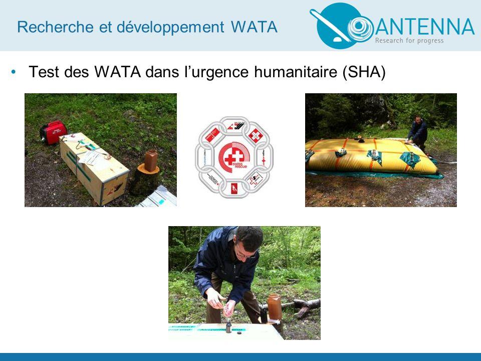 Recherche et développement WATA Test des WATA dans lurgence humanitaire (SHA)