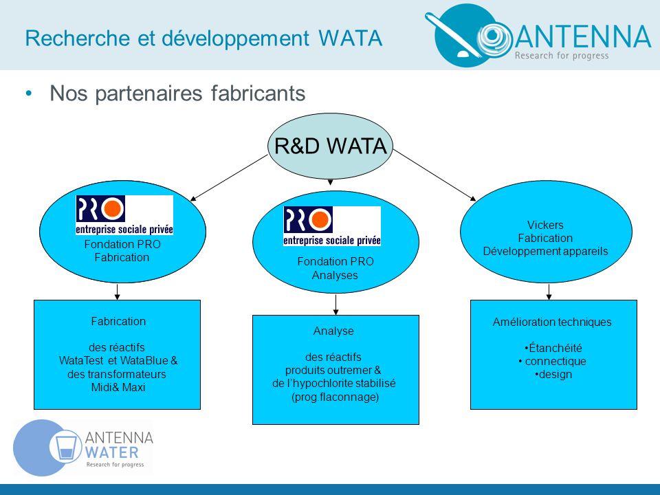 Recherche et développement WATA Nos partenaires fabricants Fondation PRO Analyses R&D WATA Vickers Fabrication Développement appareils Fabrication des