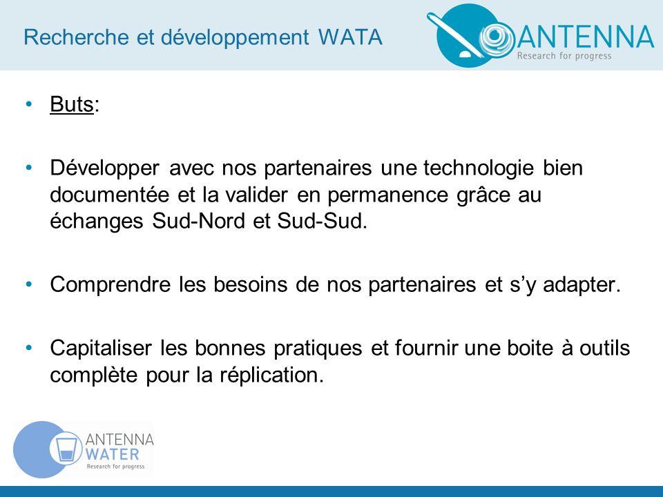 Recherche et développement WATA Nos partenaires suisse sur le terrain CICR Tests terrain Programme prisons Rwanda R&D WATA Aide humanitaire Suisse Urgence Désinfection des puits Pakistan Ingénieur (civiliste) sur le terrain Tinkisso-Antenna (Guinée), CEAS (Burkina) Transfert de technologie: flaconnage Fabrication locale des réactifs des périphériques solaires Test des Maxi-WATA Développement Midi-WATA Amélioration des transfo et étanchéité des Standard-WATA