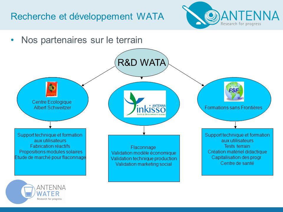 20 Recherche et développement WATA Mini-WATA Ecoles WATA-Standard Petit centre de Santé Midi-WATA Maxi-WATA Flaconnage Prisons Grand Centre de santé