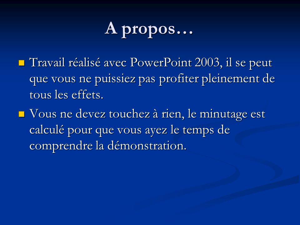 A propos… Travail réalisé avec PowerPoint 2003, il se peut que vous ne puissiez pas profiter pleinement de tous les effets. Vous ne devez touchez à ri