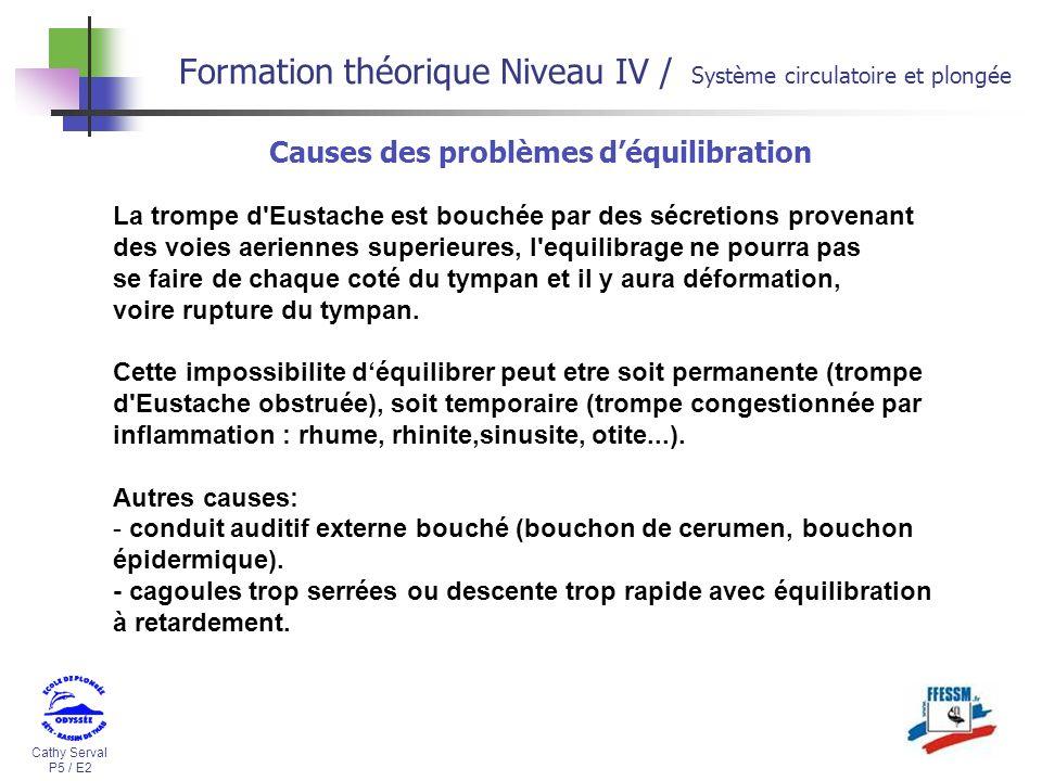 Cathy Serval P5 / E2 Formation théorique Niveau IV / Système circulatoire et plongée Causes des problèmes déquilibration La trompe d'Eustache est bouc