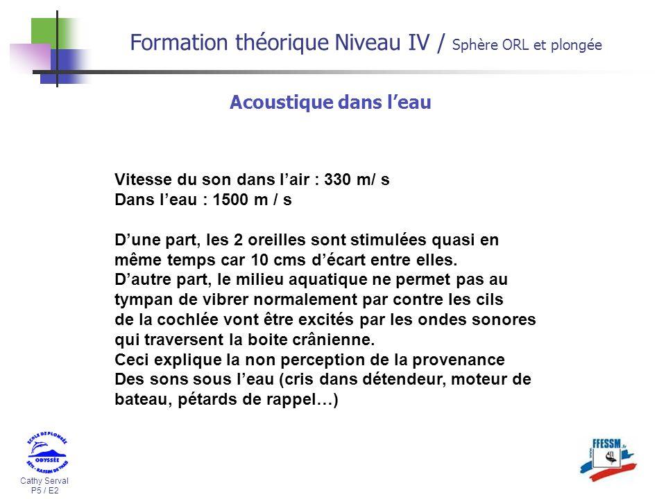 Cathy Serval P5 / E2 Formation théorique Niveau IV / Sphère ORL et plongée Acoustique dans leau Vitesse du son dans lair : 330 m/ s Dans leau : 1500 m