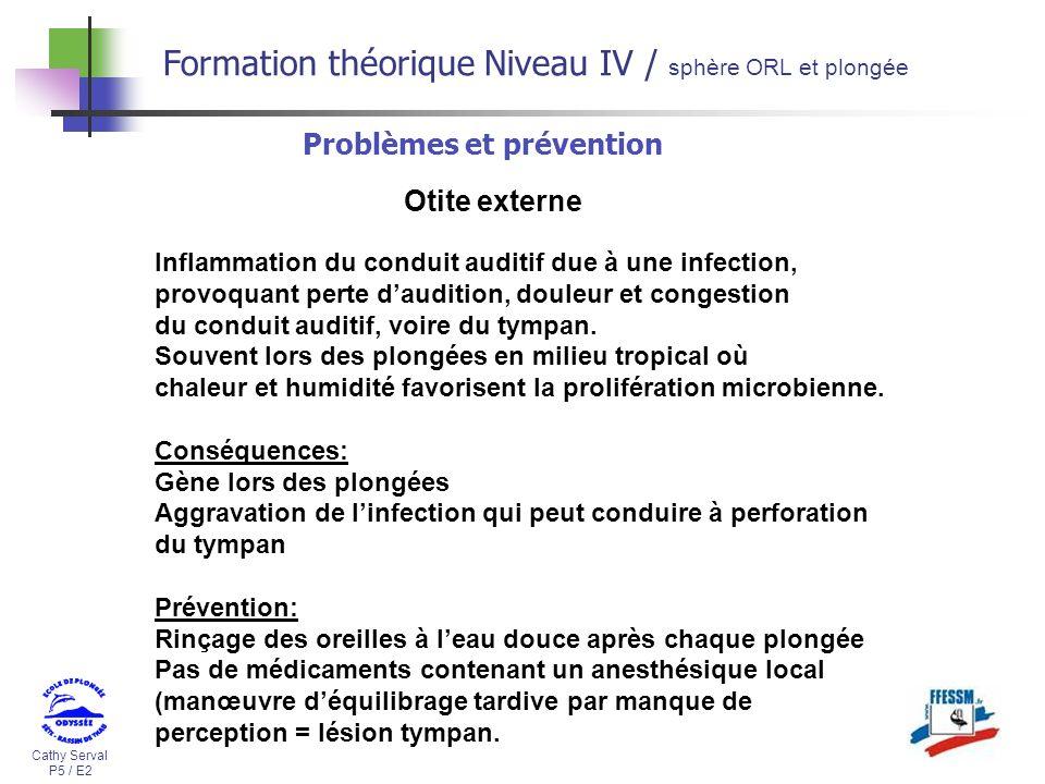 Cathy Serval P5 / E2 Formation théorique Niveau IV / sphère ORL et plongée Problèmes et prévention Otite externe Inflammation du conduit auditif due à