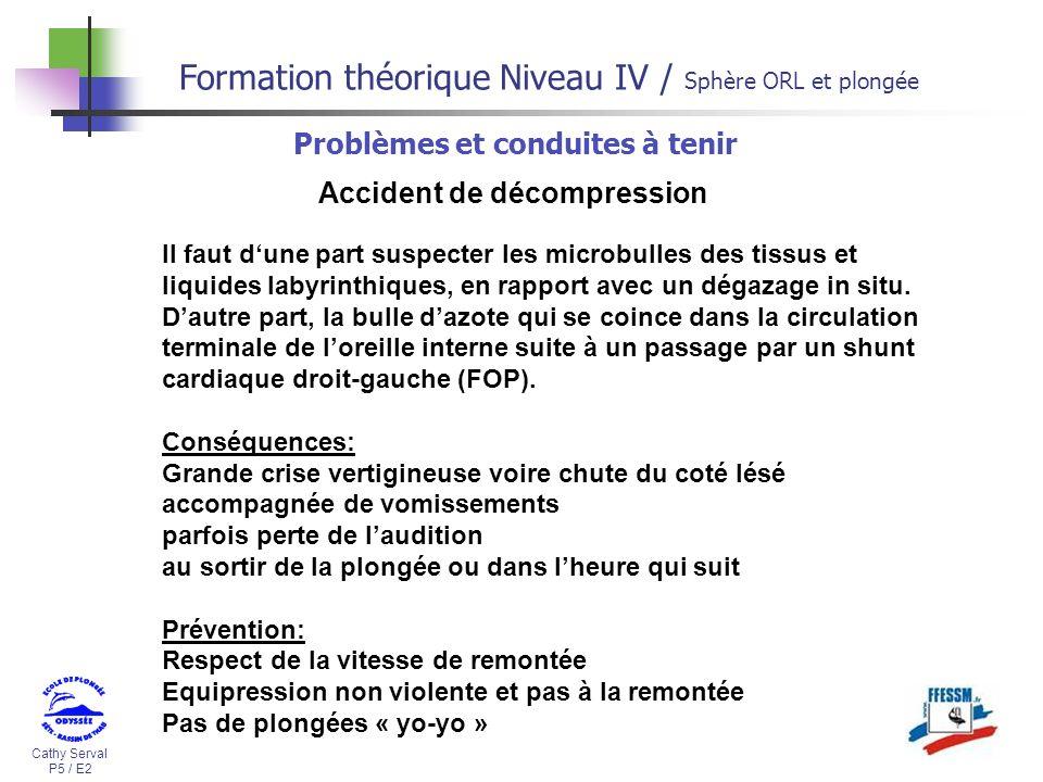 Cathy Serval P5 / E2 Formation théorique Niveau IV / Sphère ORL et plongée Problèmes et conduites à tenir Accident de décompression Il faut dune part