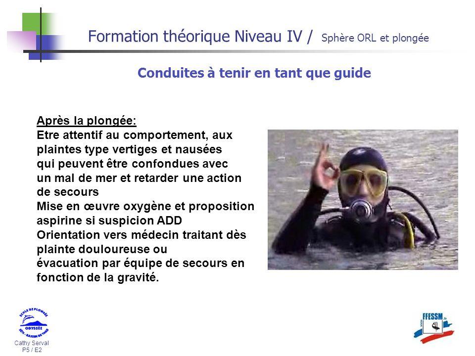 Cathy Serval P5 / E2 Formation théorique Niveau IV / Sphère ORL et plongée Conduites à tenir en tant que guide Après la plongée: Etre attentif au comp