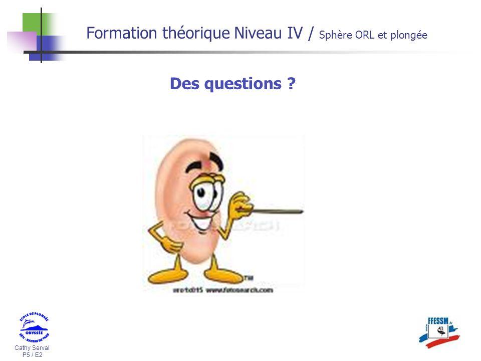 Cathy Serval P5 / E2 Formation théorique Niveau IV / Sphère ORL et plongée Des questions ?