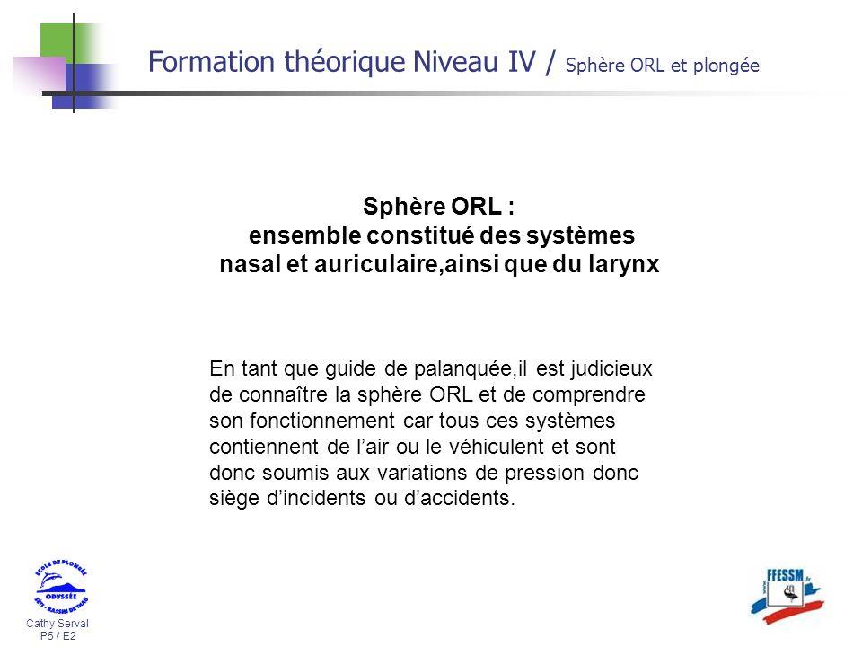Cathy Serval P5 / E2 Formation théorique Niveau IV / Sphère ORL et plongée Sphère ORL : ensemble constitué des systèmes nasal et auriculaire,ainsi que