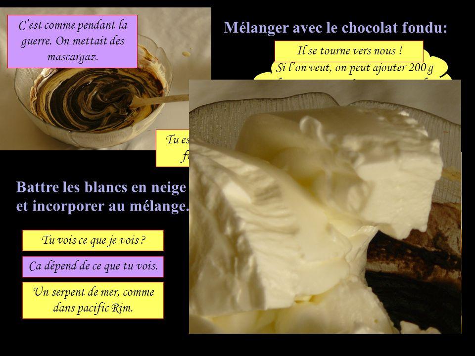 Mélanger avec le chocolat fondu: Battre les blancs en neige et incorporer au mélange. Si lon veut, on peut ajouter 200 g de mascarpone. La mousse est
