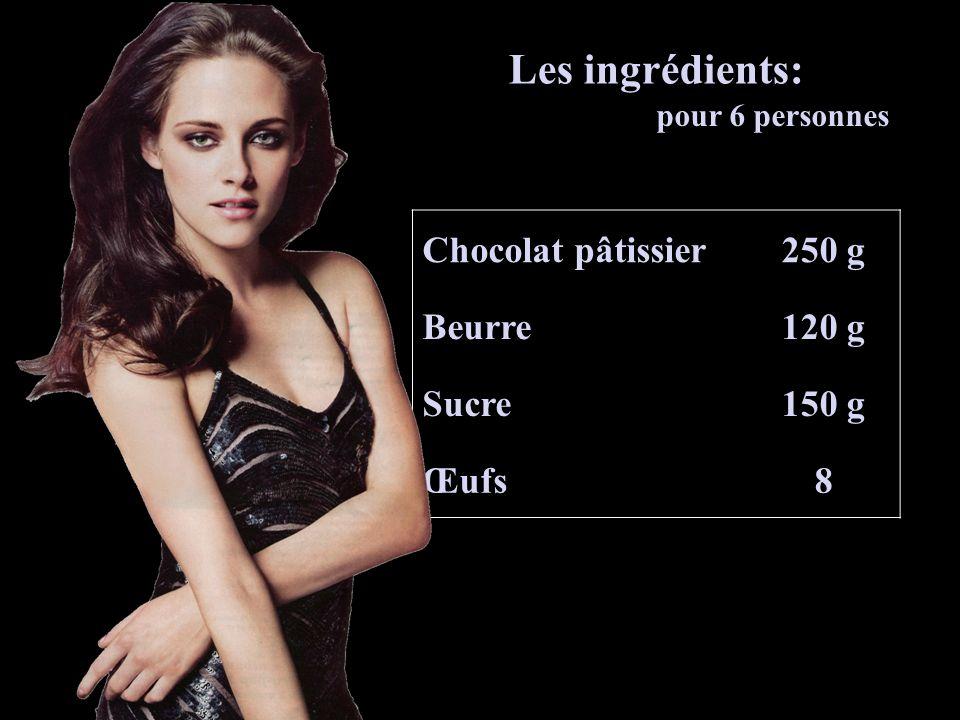 Chocolat pâtissier250 g Beurre120 g Sucre150 g Œufs8 Les ingrédients: pour 6 personnes