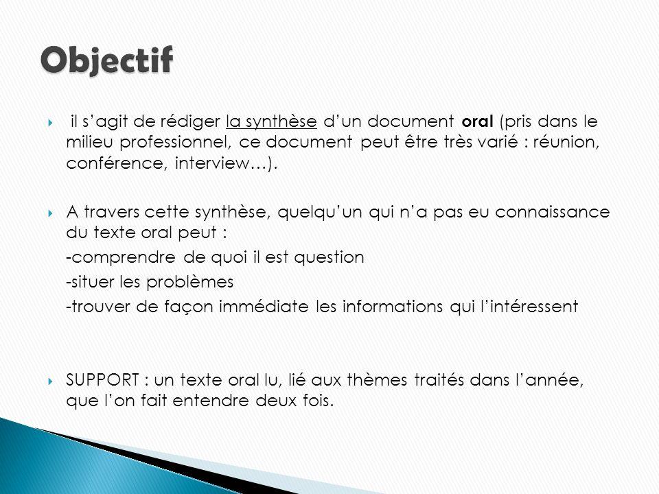 il sagit de rédiger la synthèse dun document oral (pris dans le milieu professionnel, ce document peut être très varié : réunion, conférence, interview…).