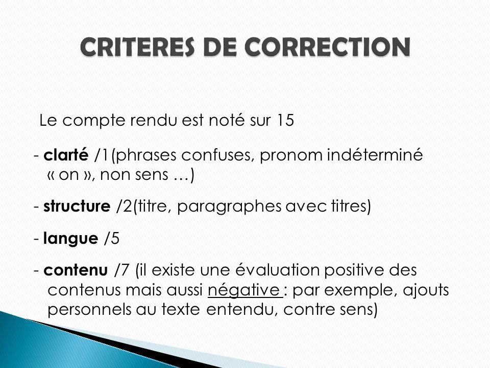 Le compte rendu est noté sur 15 - clarté /1(phrases confuses, pronom indéterminé « on », non sens …) - structure /2(titre, paragraphes avec titres) - langue /5 - contenu /7 (il existe une évaluation positive des contenus mais aussi négative : par exemple, ajouts personnels au texte entendu, contre sens)
