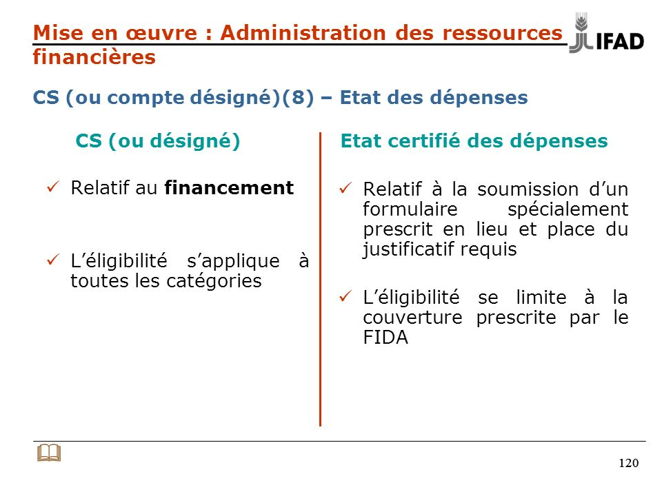 120 CS (ou désigné) Etat certifié des dépenses Relatif au financement Léligibilité sapplique à toutes les catégories Relatif à la soumission dun formu
