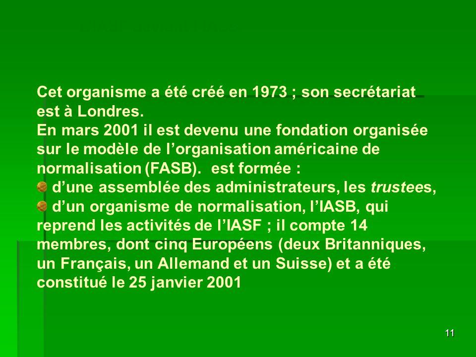 11 Cet organisme a été créé en 1973 ; son secrétariat est à Londres. En mars 2001 il est devenu une fondation organisée sur le modèle de lorganisation