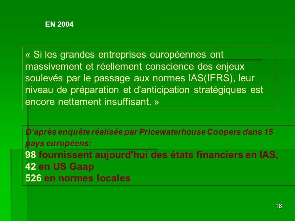 16 Ou en est on en 2004 ? « Si les grandes entreprises européennes ont massivement et réellement conscience des enjeux soulevés par le passage aux nor