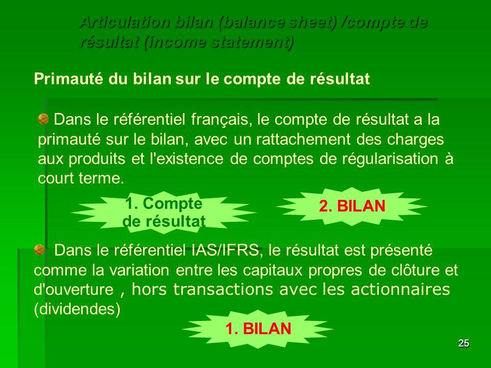 25 Primauté du bilan sur le compte de résultat Dans le référentiel français, le compte de résultat a la primauté sur le bilan, avec un rattachement de