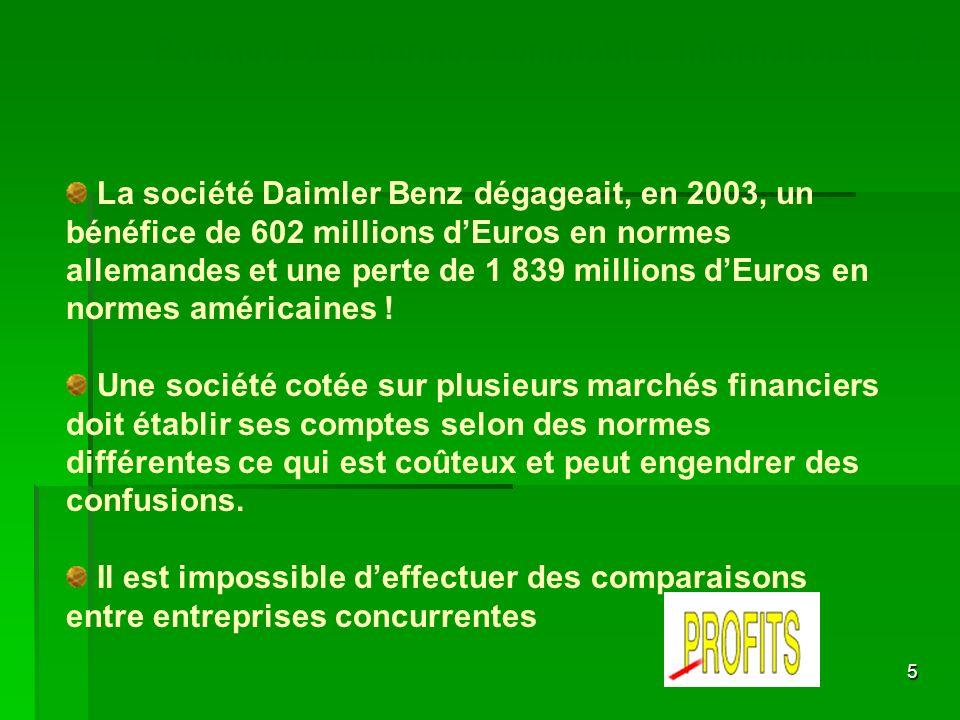 5 La société Daimler Benz dégageait, en 2003, un bénéfice de 602 millions dEuros en normes allemandes et une perte de 1 839 millions dEuros en normes
